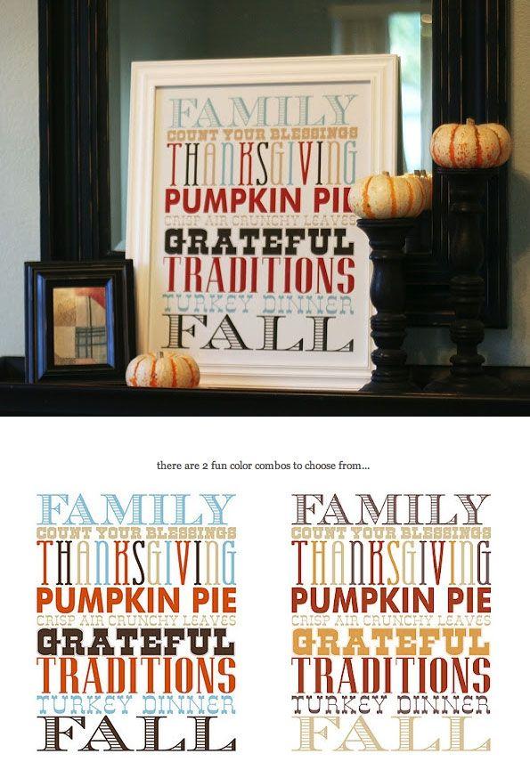 Thanksgiving Poster - Free PDF Printable in 2 Colorways.