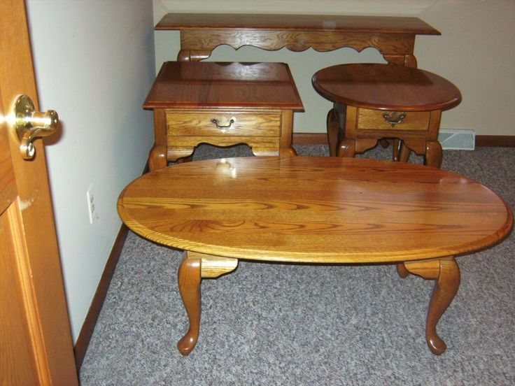 Solid Oak Coffee Table End Table Set Broyhill Solid Oak 4 Pc Euc Comps Tables Pinterest Oak Coffee Table And Solid Oak