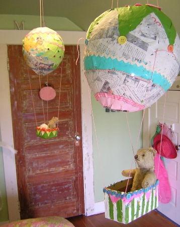 love the paper mache hot air balloons!