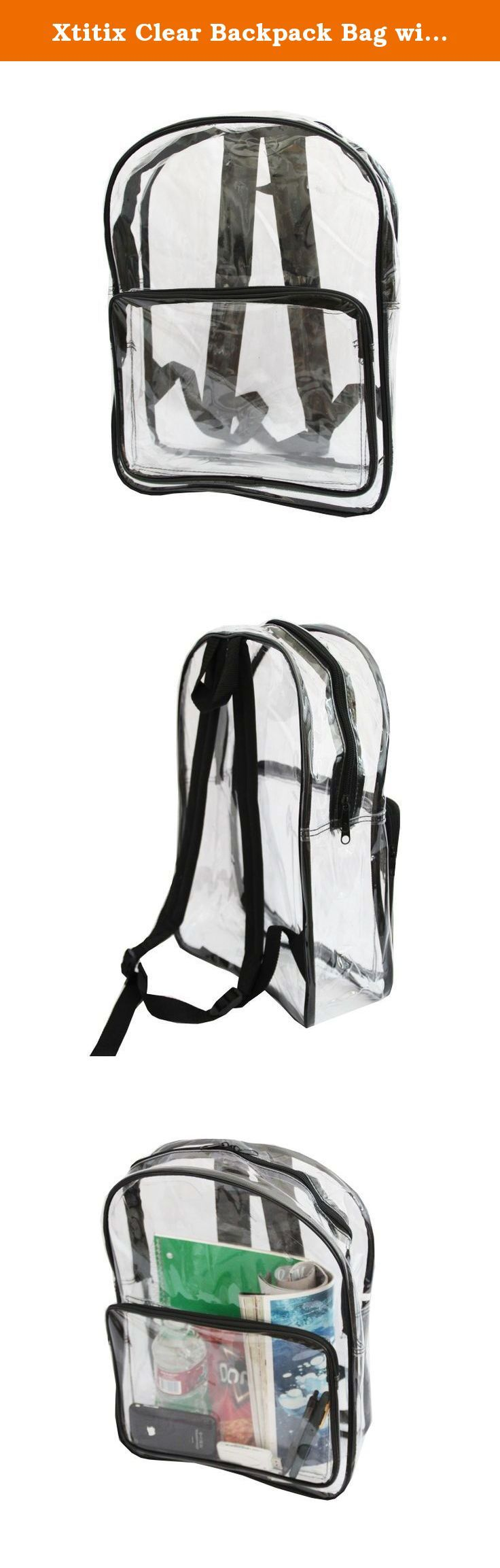 Xtitix Clear Backpack Bag with Black Handle. This backpack is great for adults at music events, correctional facilities, airport security and more. It is good for school, work, tarvel and other. The completely see through material allows for viewing of what is inside from the outside, to increase the security check and scan. Suitable for workplaces or employers that require clear bags. Lightweight at 1lb. Comes with dual straps to disperse weight and great for hiking and trips to the…