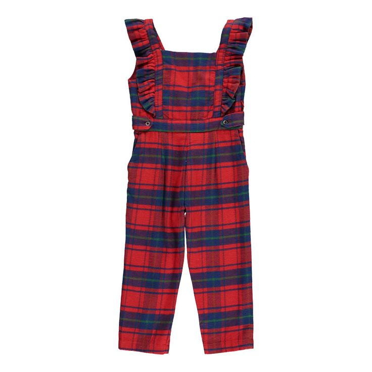 Morley Gerty Checked Flannel Jumpsuit Red