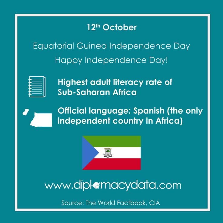 Highest literacy rate of Sub-Saharan #Africa & only African independent country with Spanish as an official language. Happy #EquatorialGuinea Day! #diplomacydata