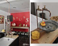 De vieilles bassines en zinc se transforment en vasque et des robinets de service en laiton se détournent en robinetterie de lavabo