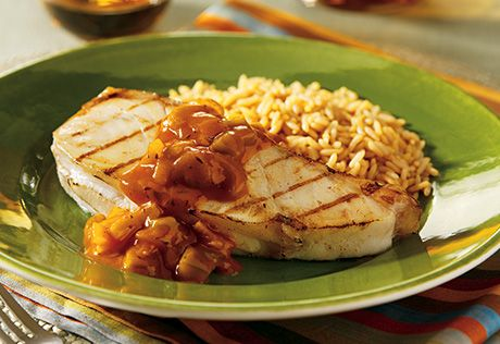 Campbell's Grilled Fish Steaks with Chunky Tomato Sauce Recipe ...