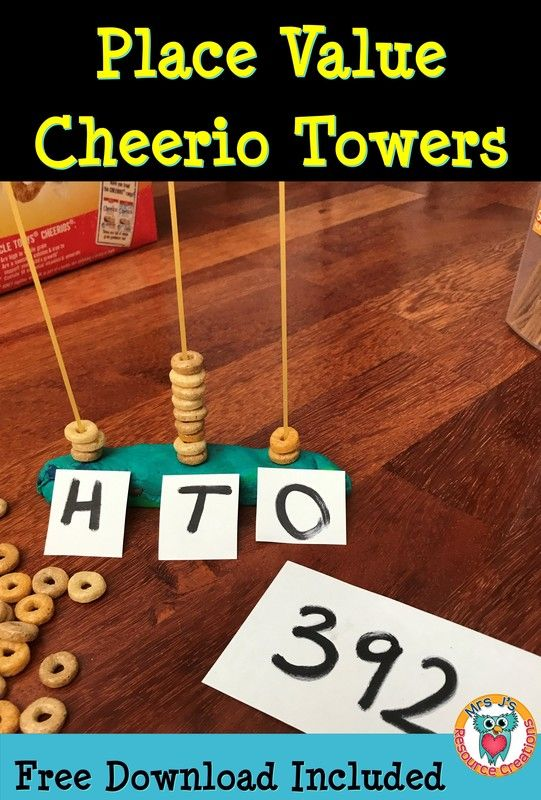 Place Value Cheerio Towers activity. Free template download included.
