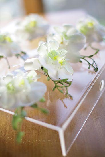 White Orchid corsage by Tirtha Bridal Uluwatu Bali