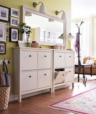 WE NEED THIS - seriously considering adding it to our registry - shoe storage AND the super thin table we've been looking for to anchor the wall? YES. PLEASE. (Ikea Hemnes collection) $99 each