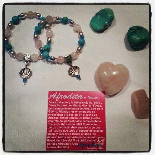 #AquaAura #pulsera de la #Diosa #Afrodita #joyas #Turquesa #CuarzoRosa #gemstones #moda #mujer #plata