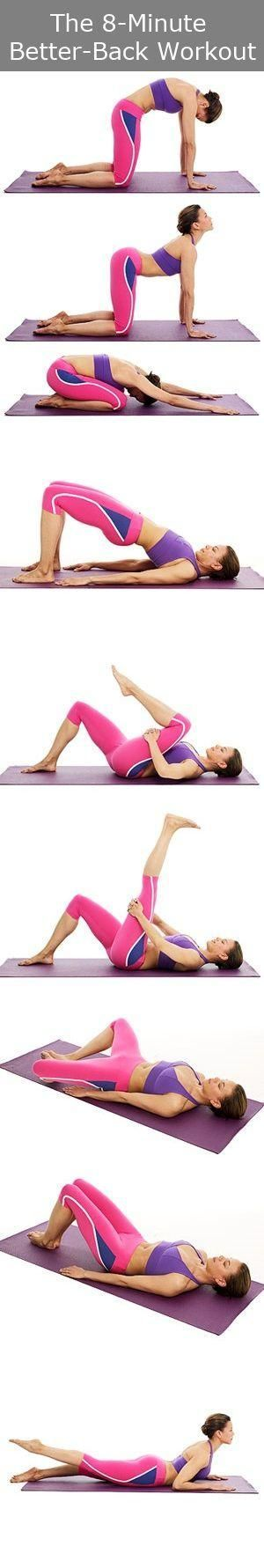 Yoga | The 8-Minute Better-Back Workout ........ Back yoga exercises that help prevent back pain, eliminate back fat and strengthen and condition your back.