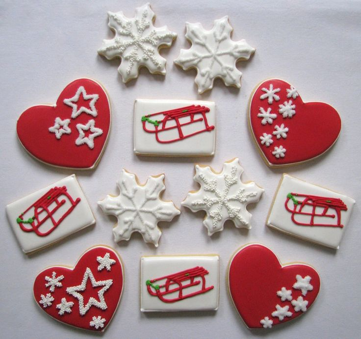 christmas cookies snowflake heart