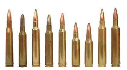 Left to Right: .300 H&H Magnum, .30 Newton, .300 Weatherby Magnum, .308 Norma Magnum, .300 Winchester Magnum, .300 WSM, .300 Remington SAUM, .300 Remington Ultra Mag, .30-378 Weatherby Magnum