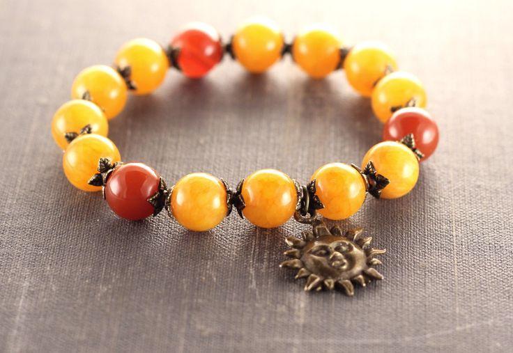 Yellow sun bracelet Boho citrine and cornelian bracelet Meditation jewelry Yellow brown gemstone bracelet Power & inspiration tibetan beads by AndriysShop on Etsy