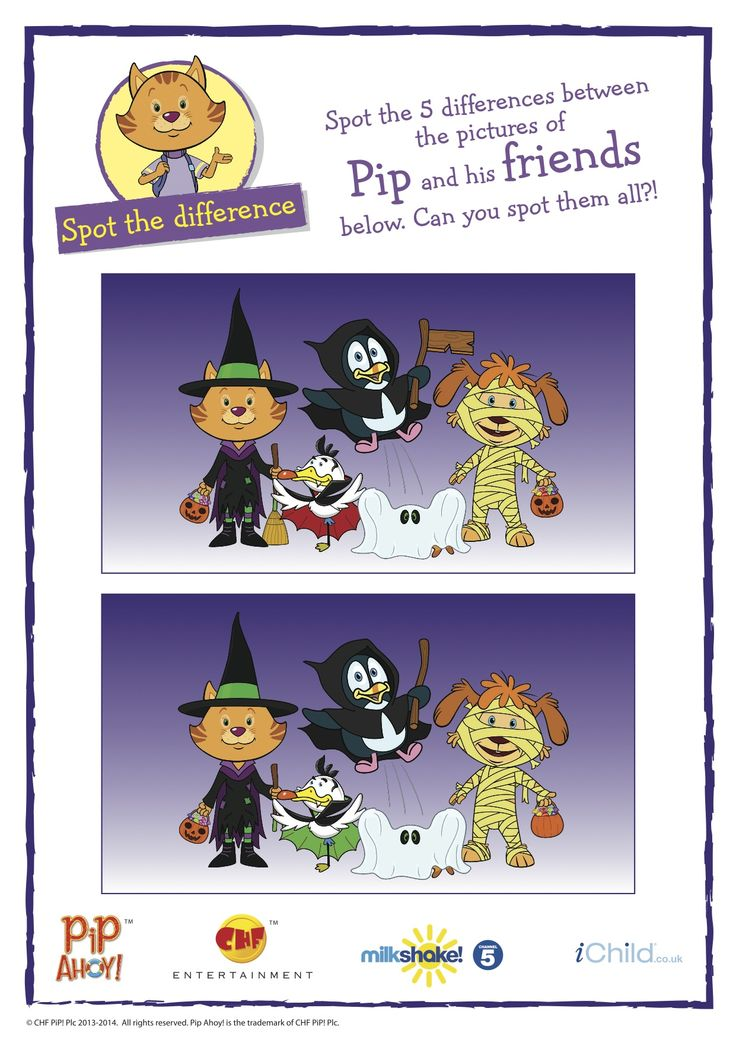 Pip Ahoy! Halloween spot the difference activity. More activities available on ichild.co.uk #Halloween
