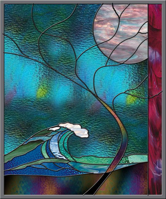 Wave Stained Glass Window Panel Wave Tree Moonlight Hawaii Turquoise Surf Australia Mexico California