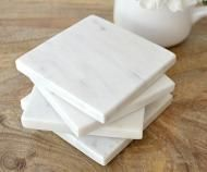 Marble Coasters - Set 4 Square White Marble Coasters - Homewares Online - Dining, kitchen and tableware