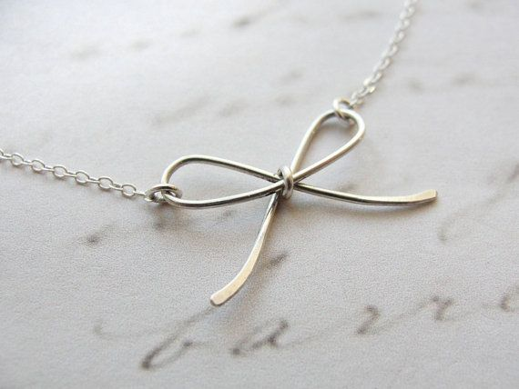 Silver bow necklace  tiny  little silver jewelry by OliveYewJewels, $32.00