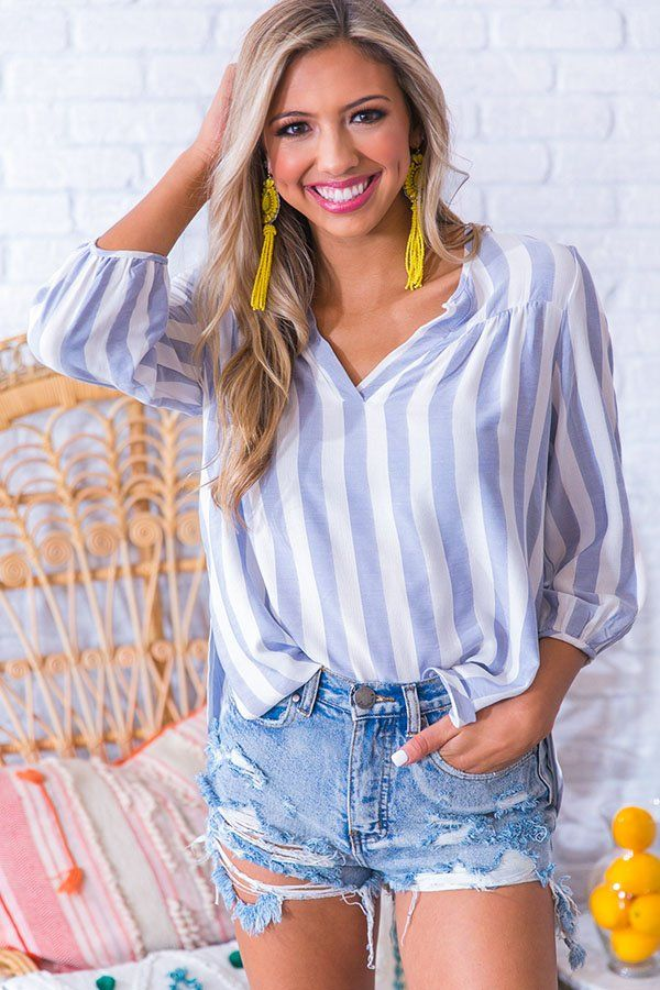 c330db2cf619 The Silver Lining Shift Top in Airy Blue- 34 This breezy top is striped  right for the Summer! Wear this blue and white striped top…