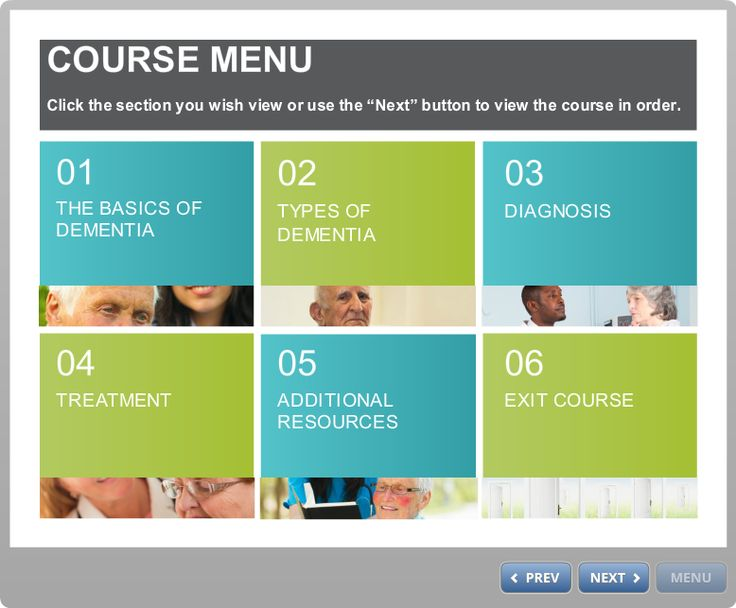 Menu page from Introduction to Dementia course.