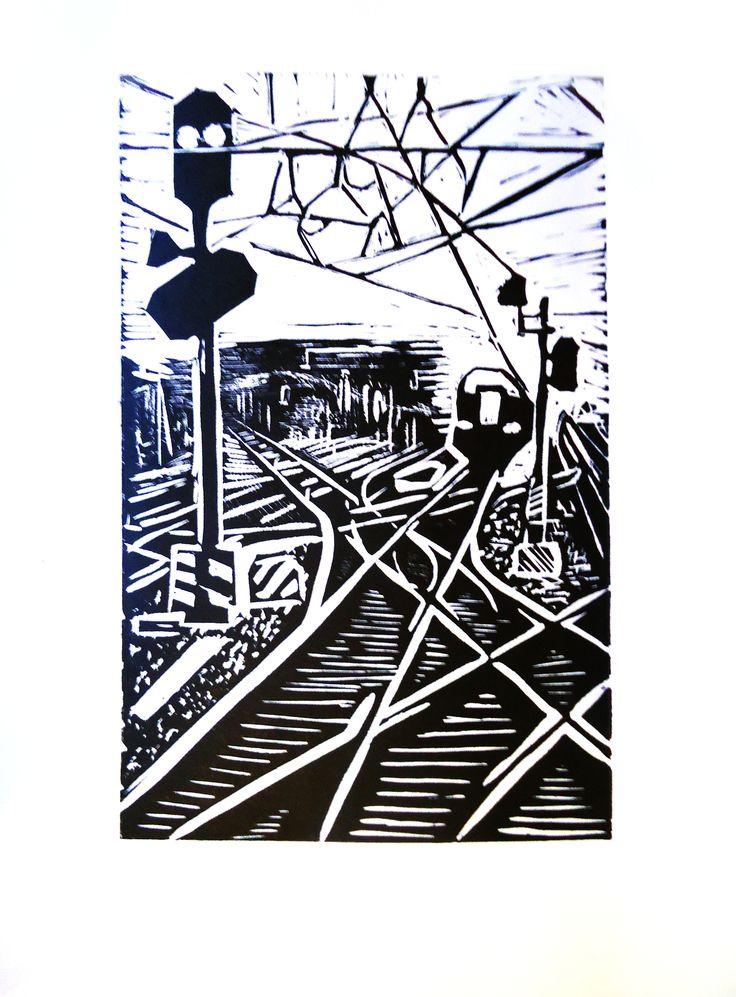 Nikita Kravchuk 'Ways' linocut block printed 2014
