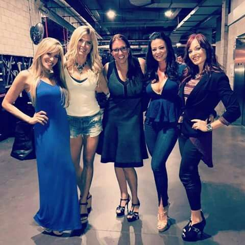 A recent photo of WWF Attitude Era Divas Lilian Garcia, Torrie Wilson & Stephanie McMahon with WWE Ruthless Aggression Era Divas Candice Michelle & Christy Hemme