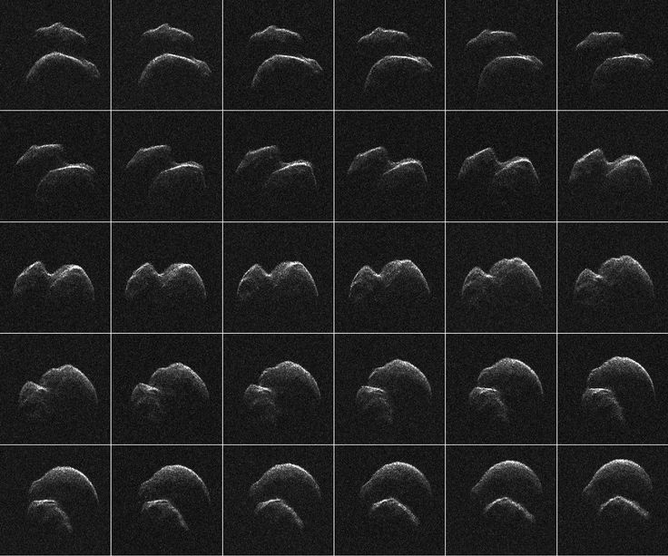 Asteroid 2014 JO25 (on the list of Potentially Hazardous Asteroids) made its closest approach to our planet on April 19, 2017, at a distance of 1.8 million kilometers. That's over four times the distance from the Earth to the Moon. This grid of 30 radar images reveals the two-lobed shape of the asteroid that rotates about once every five hours.