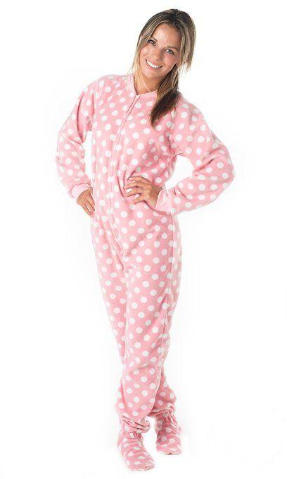 Amazon Com Footed Pajamas Pretty In Polka Adult Fleece