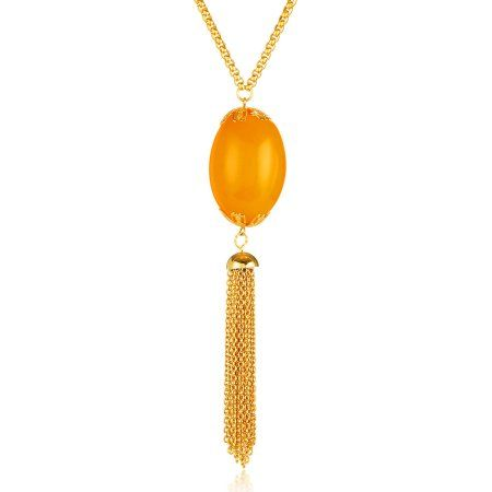 Elya Gold IP Faux Orange Calcite Tassel Stainless Steel Pendant Necklace (3.5mm), 28 inch, Women's, Multicolor