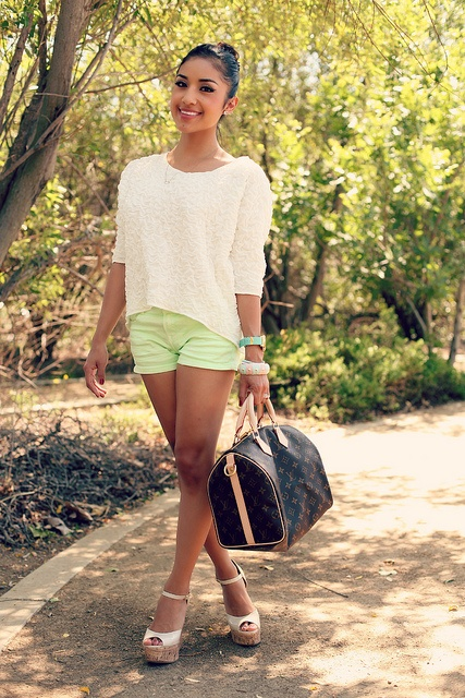 mint shorts and lace top