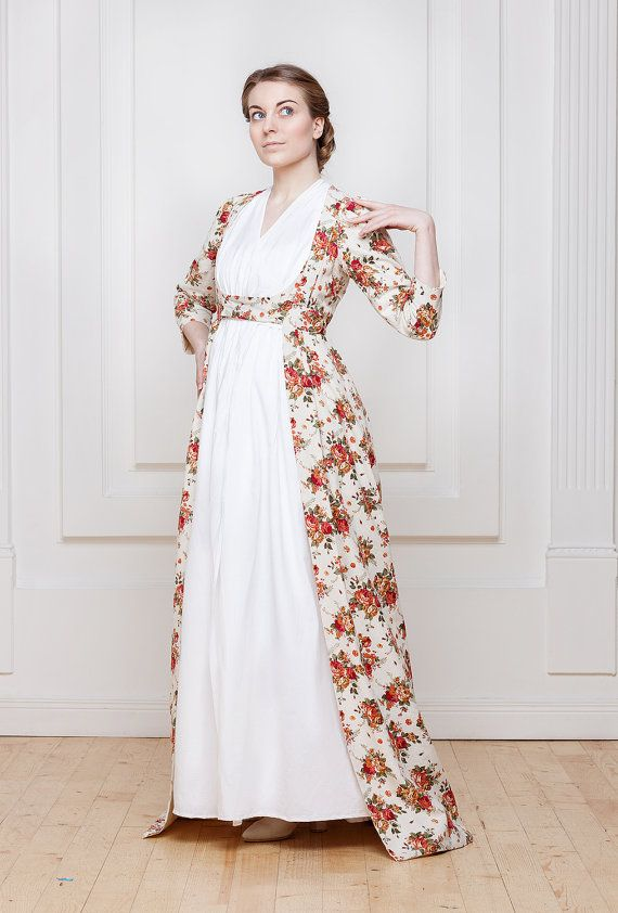 Woman dress 18-19th century, Chemise dress, open robe, Regency and Empire period
