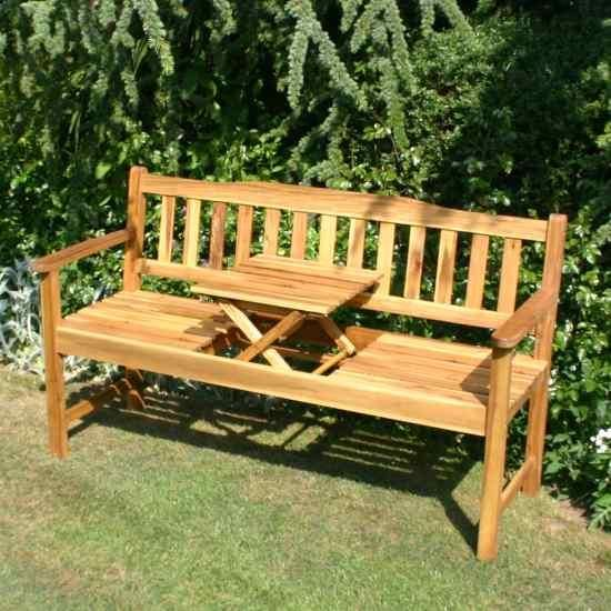 £97.90 - Bench with pop-up table FIGURES OUT TO BE ABOUT $190.OO U.S.,IF I FIGURED CORRECTLY USING MY PHONE'S CURRENCY CONVERTER. WHICH WOULD HAVE TO BE A CHEAPER TYPE AND GRADE OF WOOD,I AM GUESTIMATING IT COULD BE AS MUCH AS $800.00-$1500.00 U.S. IF IT WERE TEAK OR MAHOGANY.