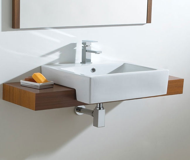 Phoenix Semi Recessed Wash Basin VB014. Shelf running all along wall with basin in /on?