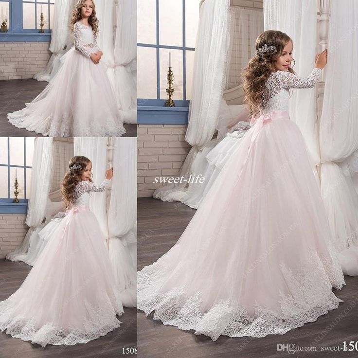 Custom Made Long Sleeve Wedding Flower Girl Dresses Lace Crystals Belt 2017 Princess Tutu Train Girls Pageant Dress Child Communion Gowns Flower Girl Dresses Cheap Girls Pageant Dresses Online with 92.0/Piece on Sweet-life's Store | DHgate.com