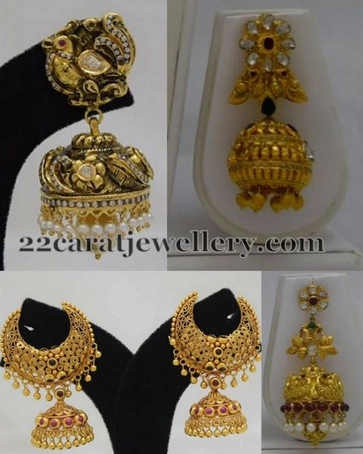 Jewellery Designs: Peacock Antique Jhumka Sets