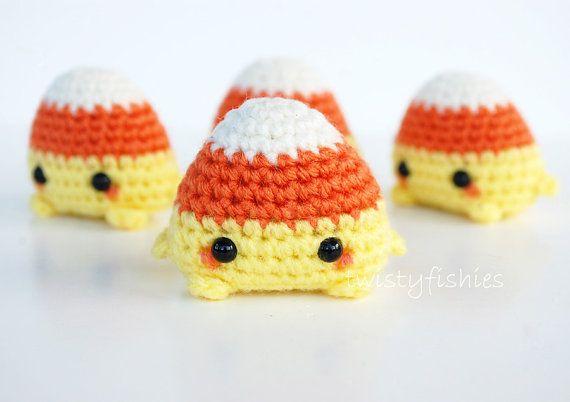 Mini Candy Corn Amigurumi  Kawaii Halloween Plush by twistyfishies