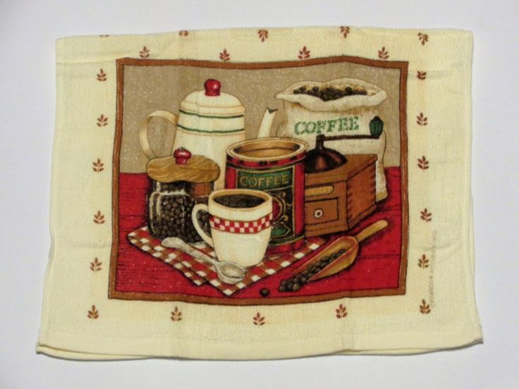 This Set Of Two Kitchen Towels Feature A Vintage Coffee Pot, A Bag Of Coffee  Beans, A Vintage Coffee Grinder, Coffee Canister With Coffee Beans, White