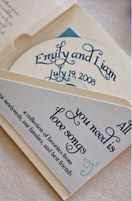 CD Wedding Favors that double as seating cards. It could be a mix of all the songs played at the reception. Maybe even more personalized for some people.