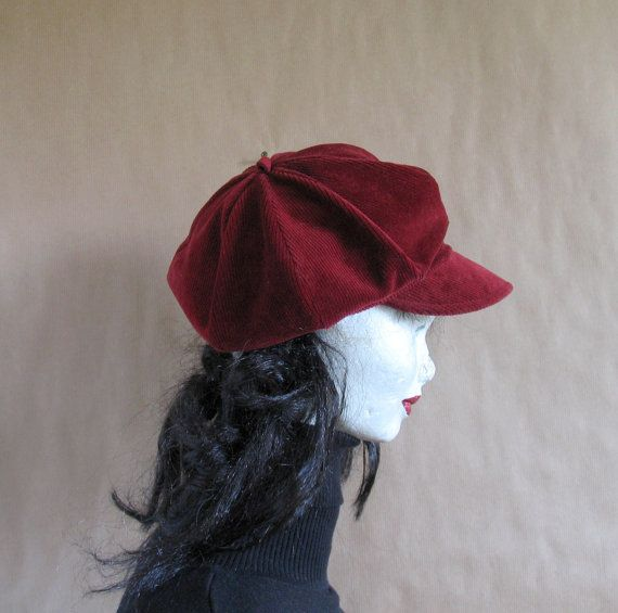 Newsboy hat  Driving hat  Gatsby Hat  Red hat  by vintachi on Etsy, $12.99