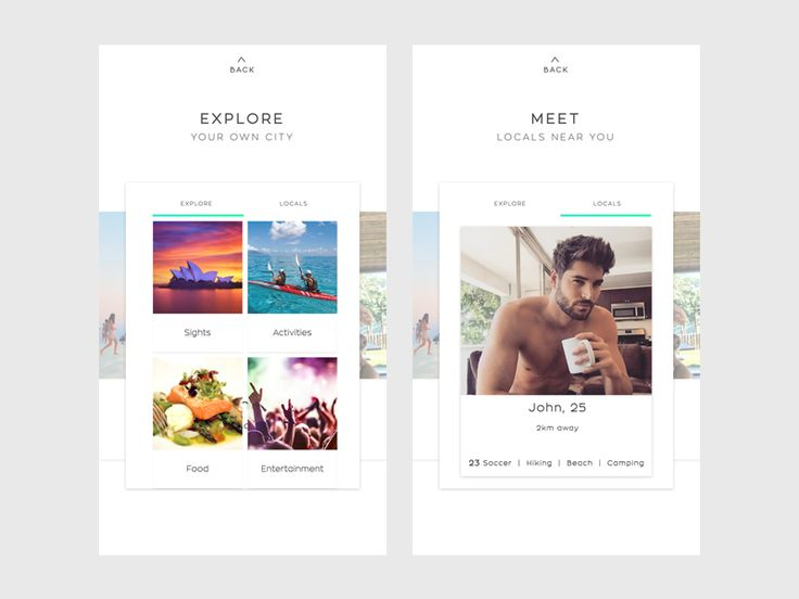 On boarding screens for a 'Travel Local' app concept