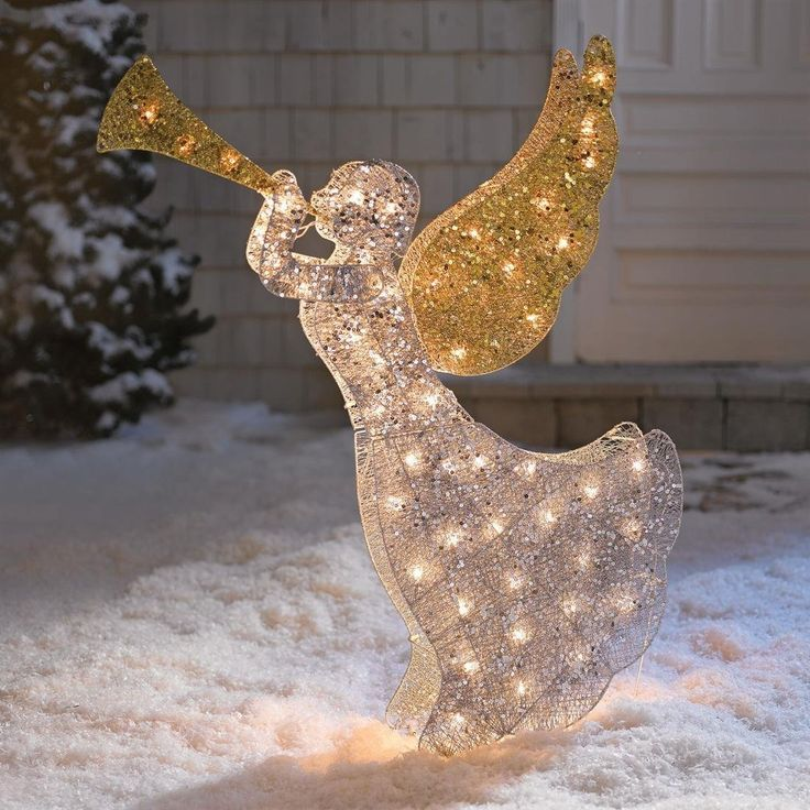 17 best images about outdoor christmas gold on for Angel outdoor decoration