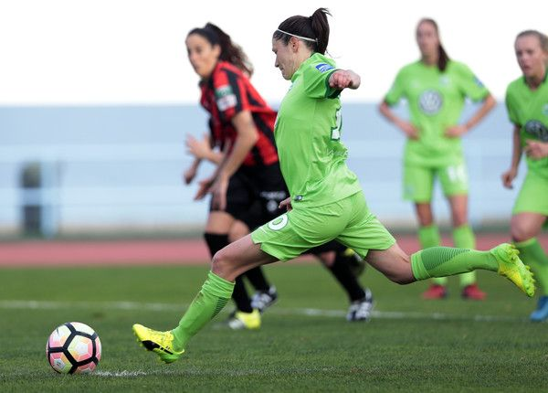 Elise Bussaglia of Wolfsburg scores a penalty during the Women's Friendly Match between VfL Wolfsburg Women's and SC Huelva on February 2, 2017 in Vila Real Santo Antonio, Portugal.
