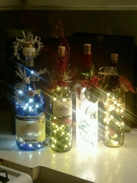 18 best images about wine bottle decorations on pinterest for Christmas bottle decoration ideas