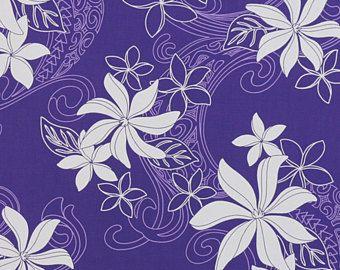 Polynesian Tropical Floral Fabric Tapa Tribal Tiare Flowers Leaf Lavender Purple Wrap Skirt Sarong Dress Crafts HPCN10356, AskForBulk