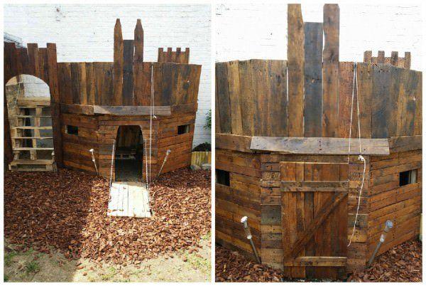 Voilà une superbe cabane style château fort pour les enfants quelques palettes et des vis et le tour et joué. On peut voir sur les photos un pont levis fonctionnel, grâce a une poulie, en guise de porte. Et sur…
