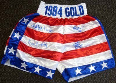 Tyrell Biggs, Mark Breland, Meldrick Taylor & Pernell Whitaker Autographed 84 Gold Boxing Trunks 1984 Gold PSA/DNA . $119.00. This is a pair of 1984 Gold Boxing Trunks that has been hand signed by the 4 gold medalist of the 1984 Olympics. Signatures include Tyrell Biggs, Mark Breland, Meldrick Taylor & Pernell Whitaker. The autograph has been certified authentic by PSA/DNA and comes with their sticker and matching certificate.