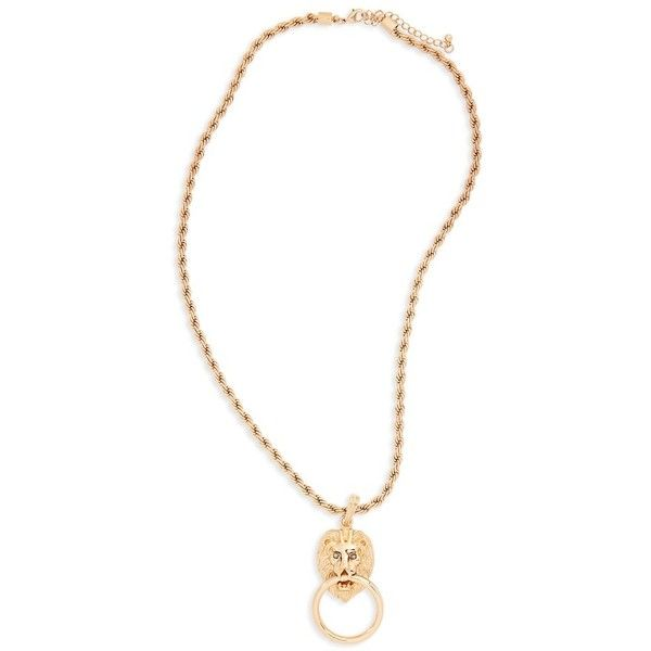 Women's Kitsch Lion Pendant Necklace ($22) ❤ liked on Polyvore featuring jewelry, necklaces, gold, gold chain pendant, chunky chain necklaces, gold pendant, gold anchor pendant and gold anchor necklace