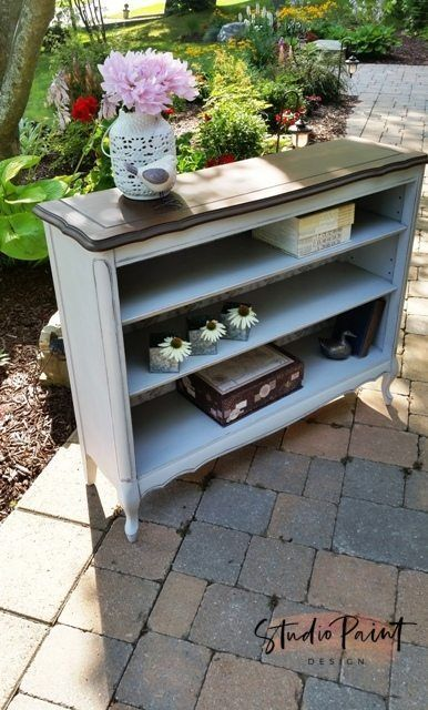 French Provincial Painted Bookshelf Annie sloan chalk paint Paris Gray Painted and Refinished Buffet Sideboard or Media Console Annie Sloan Chalk Paint Coco and GF Java Gel Stain #paintedfurniture #paintedbookshelf #DIY #furniturepaintideas #javagelstain