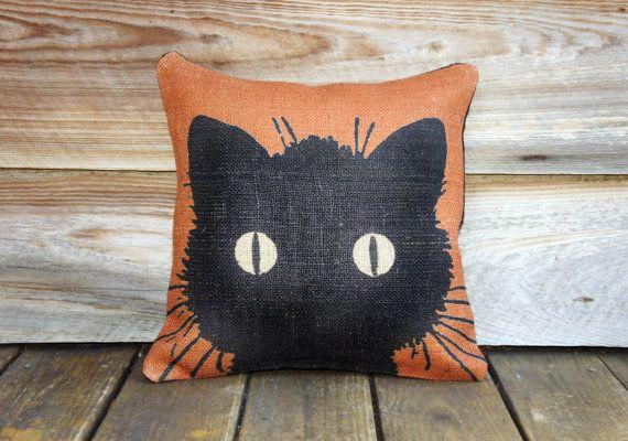 Black Cat Pillow Cover, Halloween Decoration, Orange Burlap Throw Pillow, Decorative Pillow, Fall, Cottage Chic, Rustic, Farmhouse 16x16. $46.00, via Etsy.