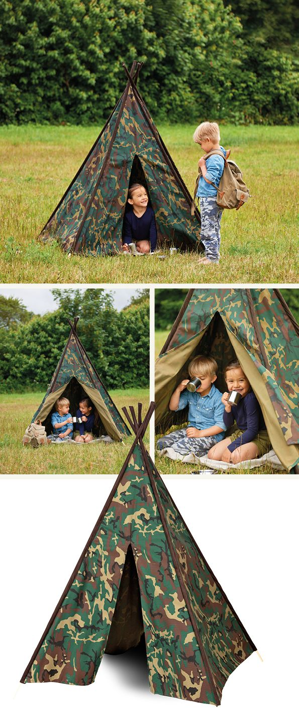 Turn into a soldier on a mission, or maybe a famous explorer on the savannah or in the jungle and live your own adventures in this tippy made in cotton camouflage printed fabric. Once you are tired of playing, it can be folded and kept without taking up much space.
