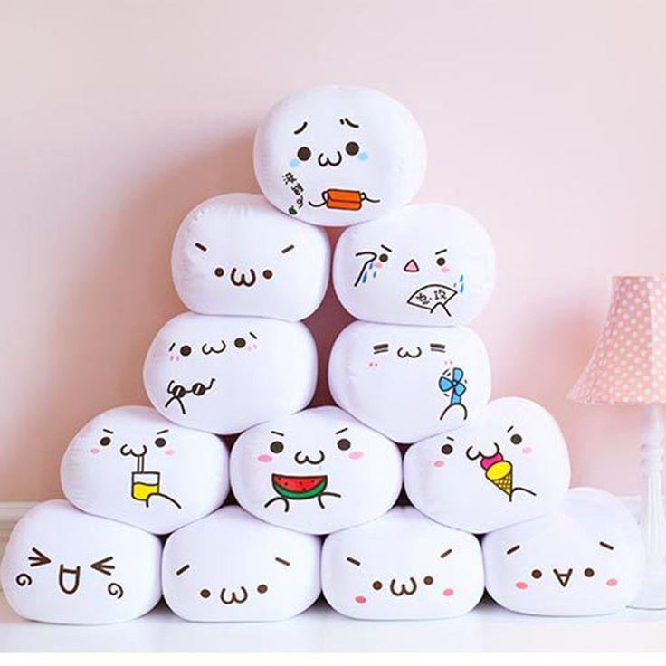 7 Styles Soft Emoji Smiley Emoticon White Round Cushion Emoji Pillow Stuffed Plush Toy Doll Valentine's Day Present B