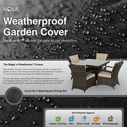 large garden furniture cover. Nova PVC Backed Polyester Waterproof Fitted Outdoor Rattan Garden Furniture Cover For Large 4 Seat Square